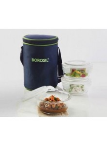 BOROSIL SET OF 3 ROUND BOROSIL BOWL WITH LID AND BAG MOQ 50 Pcs