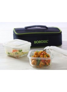 BOROSIL SET OF 2 SQUARE BOROSIL BOWL WITH LID AND BAG MOQ 50 Pcs