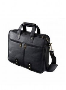 KKC BLACK LEATHERETTE LAPTOP BAG - MOQ - 50 PCS