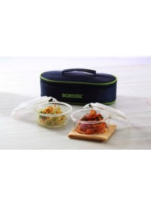 BOROSIL SET OF 2 ROUND BOROSIL BOWL WITH LID AND BAG MOQ 50 Pcs