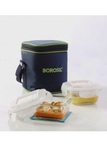 BOROSIL SET OF 2 SQUARE BOROSIL BOWL WITH LID AND BAG 320ML MOQ 50 Pcs