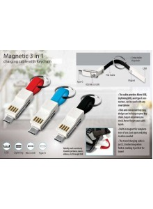 MAGNETIC 3 IN 1 CHARGING CABLE WITH KEYCHAIN MOQ - 50 PCS