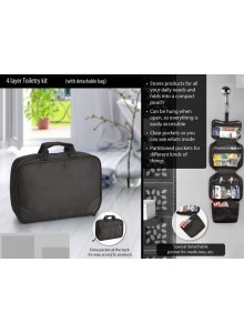 4 LAYER TOILETRY KIT BLACK MOQ 50 Pcs