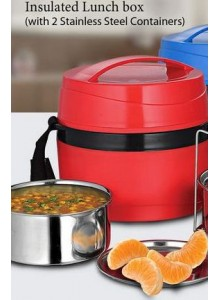 POWER PLUS INSULATED LUNCH BOX WITH 2 STEEL CONTAINER