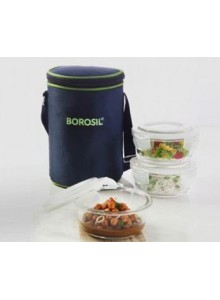 BOROSIL SET OF 3 ROUND BOROSIL BOWL WITH LID AND BAG 400 ML MOQ 50 Pcs