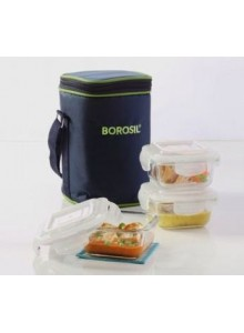 BOROSIL SET OF 3 SQUARE BOROSIL BOWL WITH LID AND BAG 320 ML  MOQ 50 Pcs