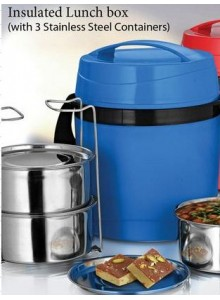 POWER PLUS INSULATED LUNCH BOX WITH 3 STEEL CONTAINER