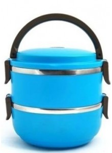 DOUBLE LYER LUNCH BOX  CYAN BLUE MOQ 50 Pcs